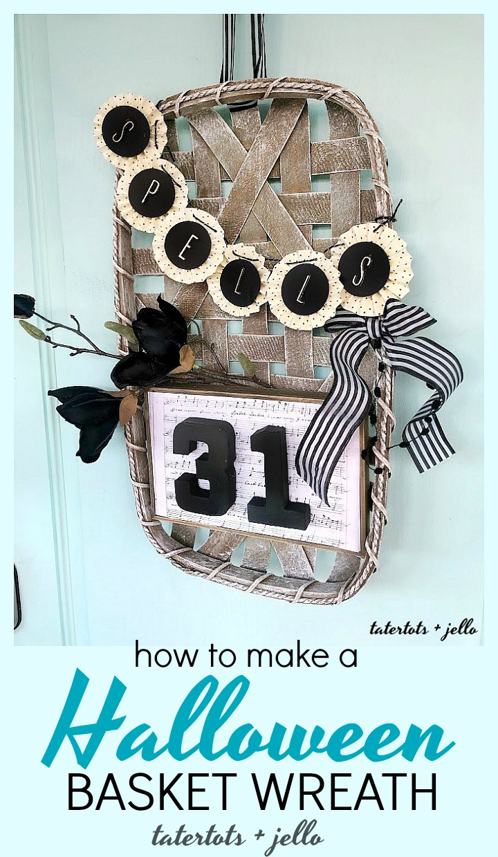 Make a Halloween Basket Witch Wreath. Use a flat basket and add a saying and banner to create a welcoming Halloween wreath!