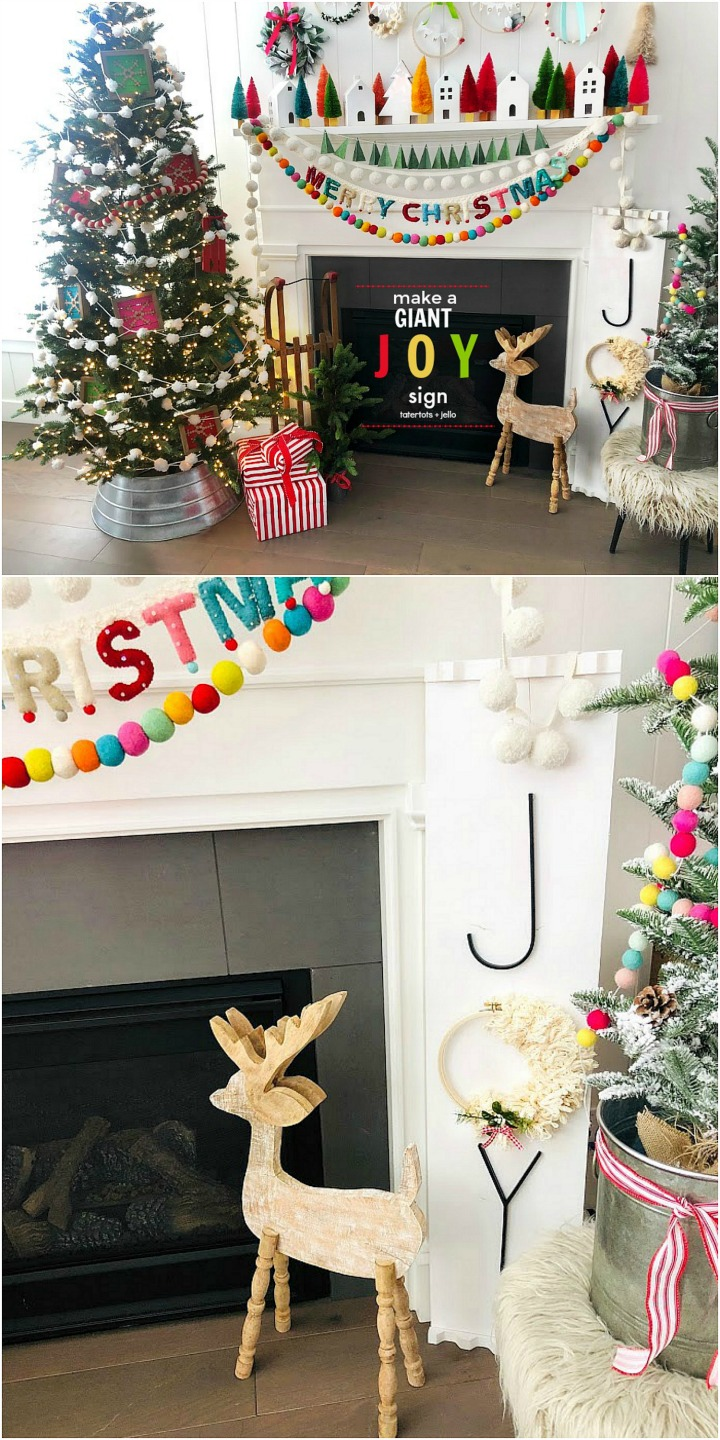Make a GIANT JOY sign for under $12. An unfinished board, trim, embroidery hoop, yarn, letters and spray paint combine to create something special for the holidays!