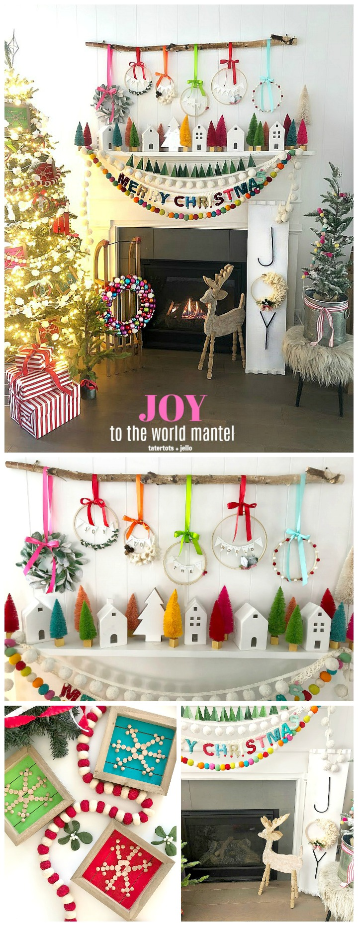 Joy to the World mantel - DIY Joy sign, embroidery hoop wreaths and DIY scandinavian snowflake ornaments.