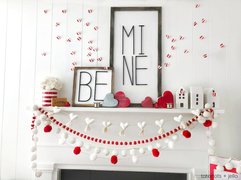 Be Mine Valentine's Day Mantel Ideas! Create a beautiful mantel with these easy and inexpensive DIY ideas -- modern metal letter typography signs, banners and paper hearts!