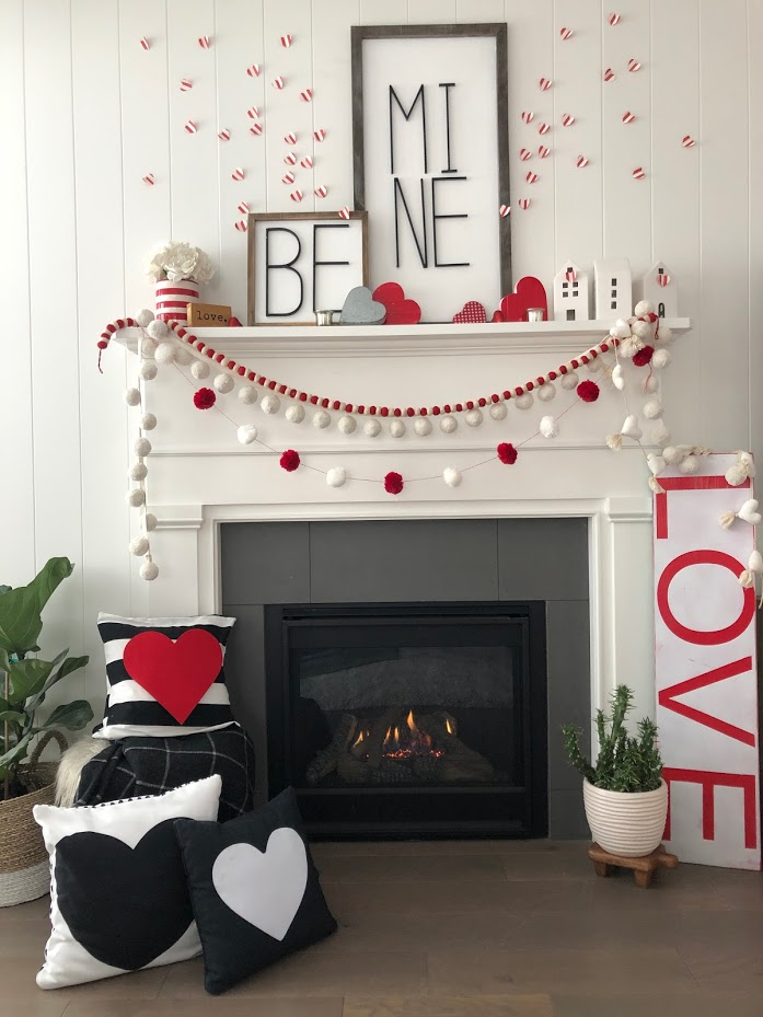Be Mine Red and White Valentine's Day Mantel Ideas