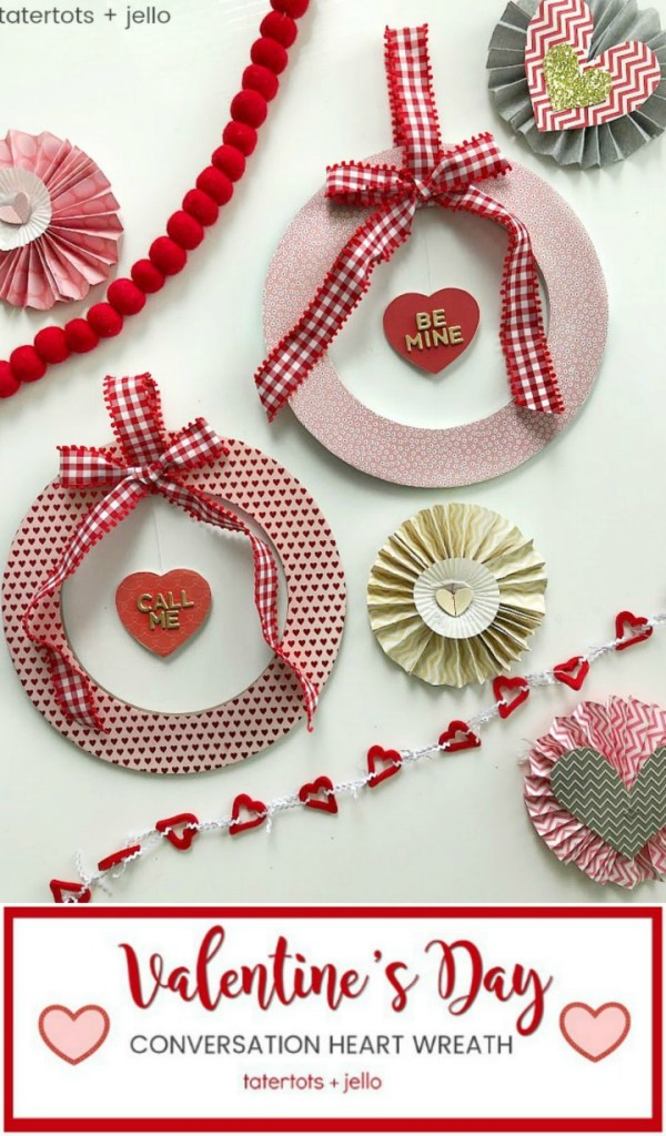 Valentine's Day Floating Conversation Heart Wreath. Turn your favorite paper into a cute wreath for Valentine's Day and add a floating heart with a Valentine's Day saying!