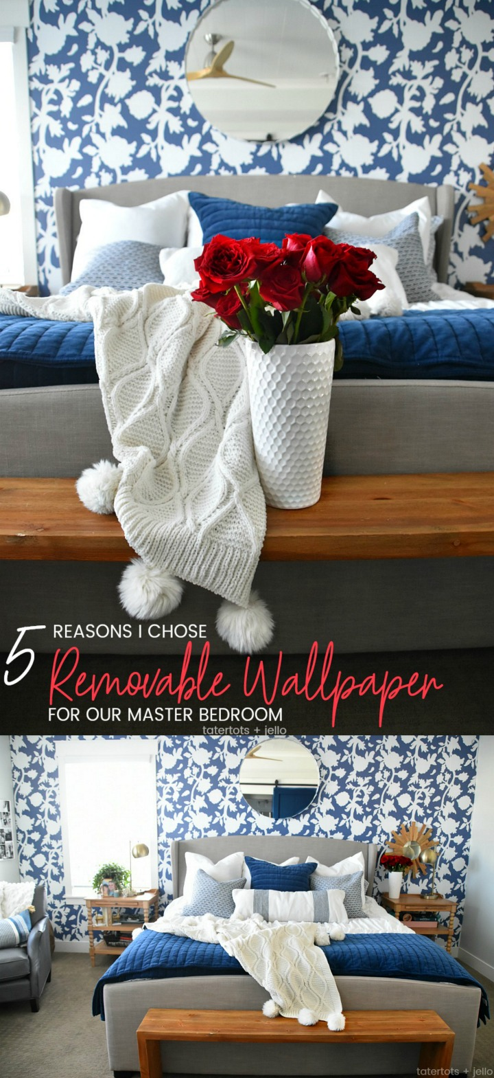 Five Reasons I chose Removable Wallpaper for our Master Bedroom. I researched removable wallpaper for months and I'm sharing all the information with you!