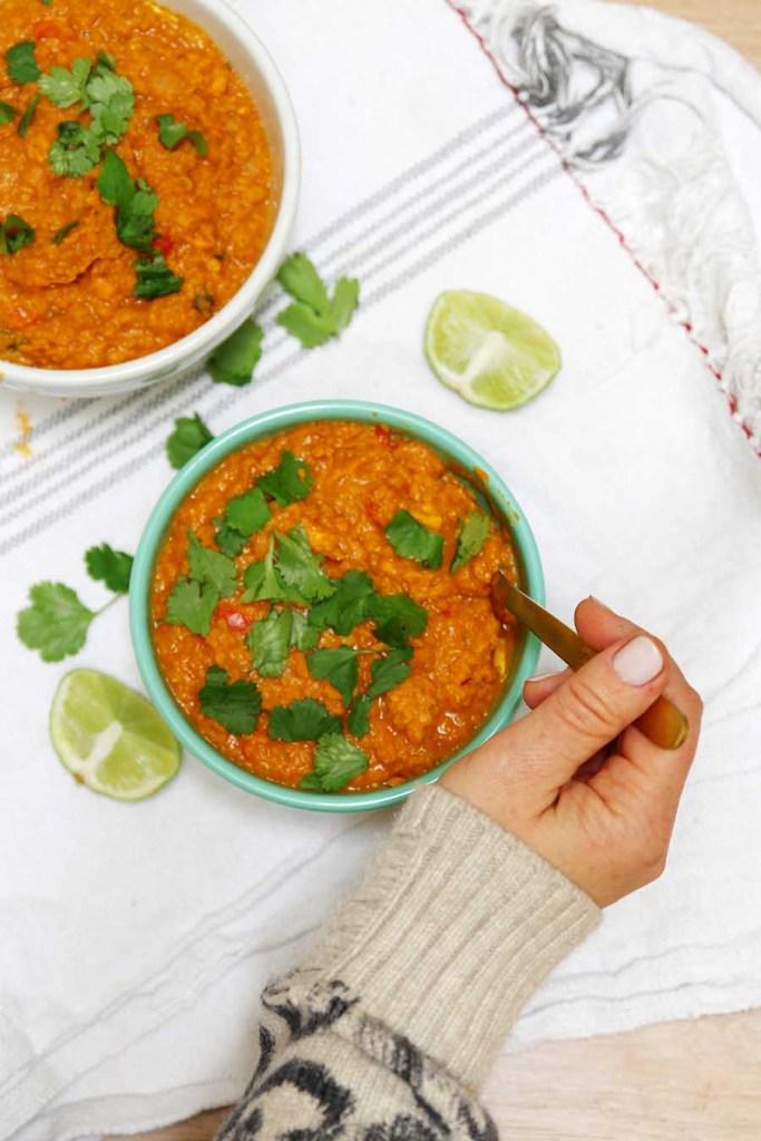 vegan red lentil soup recipe
