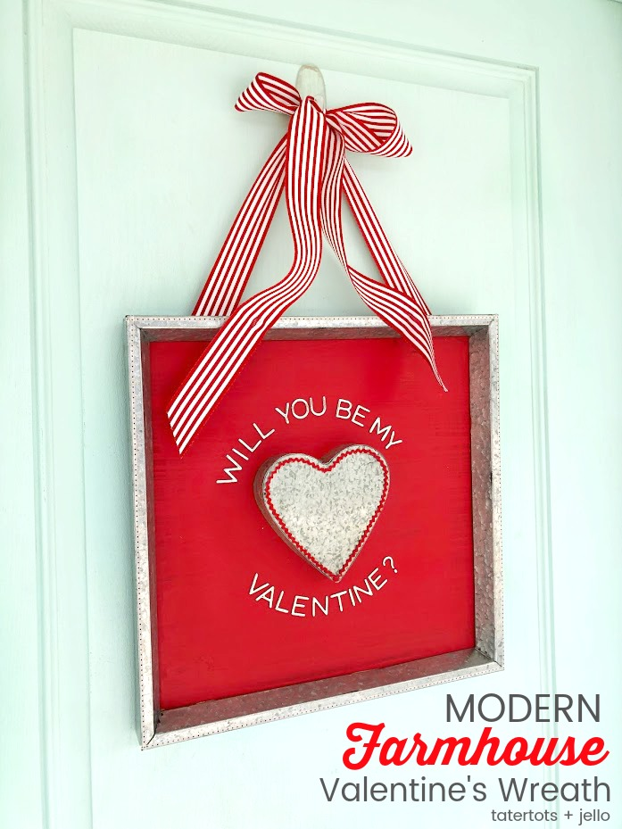 Valentine's Day Modern Farmhouse Heart Sign. Create an easy wall hanging or alternative to a front-door wreath with this easy sign to celebrate the holiday!