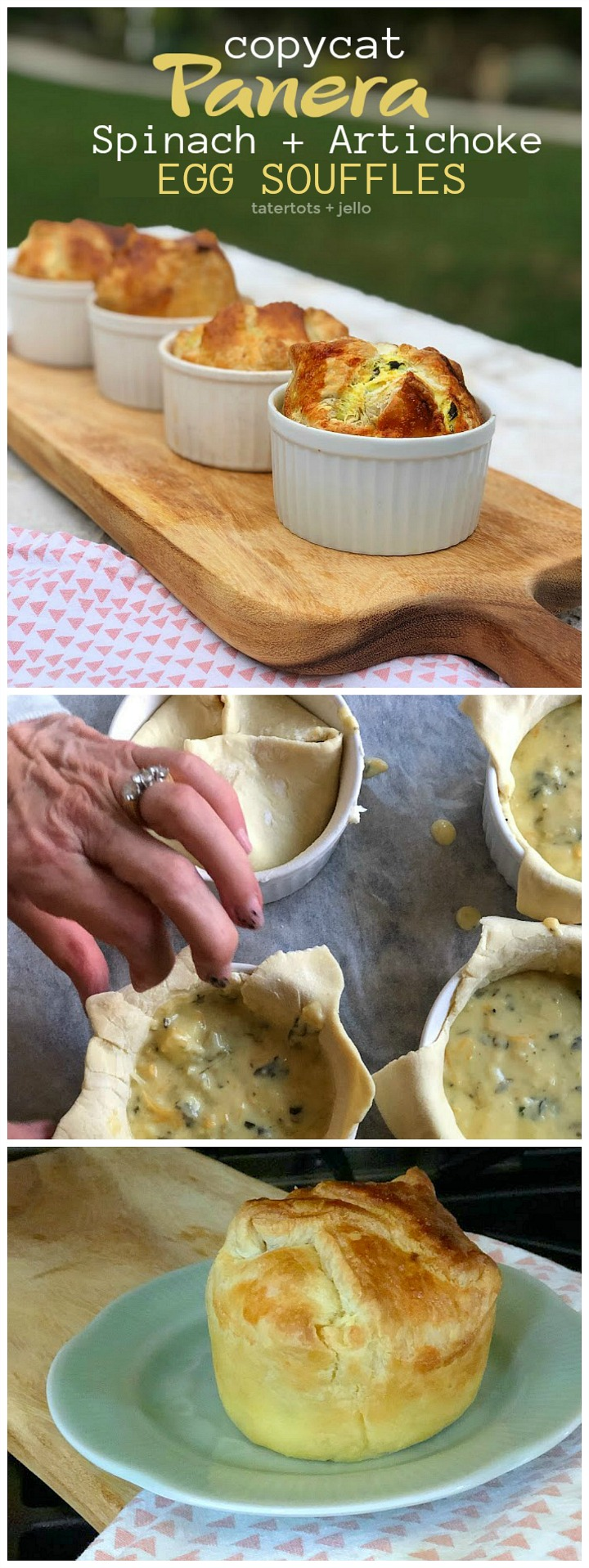 Copycat Panera Spinach and Artichoke Egg Soufflés. Fluffy eggs in a delicious spinach artichoke batter baked in layers of light flakey crust will impress weekend guests and the best part is they are SO easy to make!