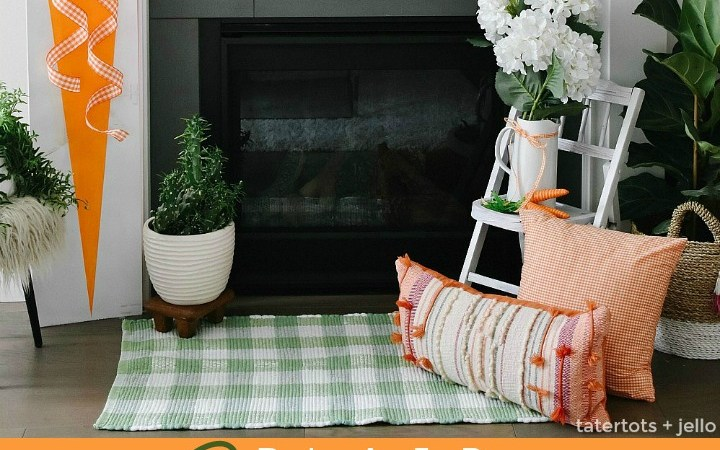Spring Mantel Decor – Plaid and Carrot Signs, DIY Banners and More!