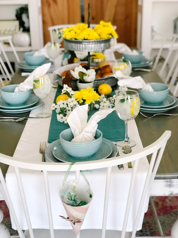 Yellow and Blue Easter Table
