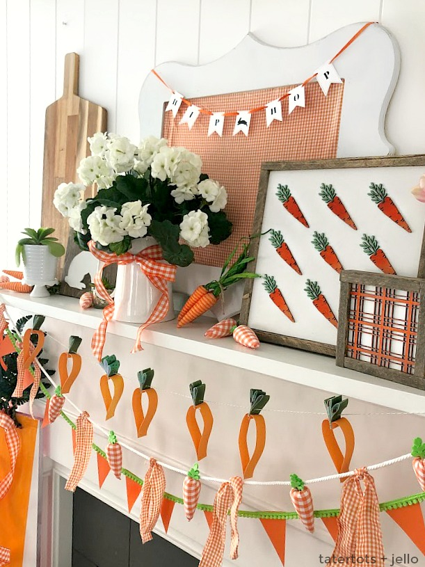 Spring Mantel Decor - Plaid and Carrot Signs, DIY Banners and More! Create a bright and happy Spring Mantel with elements of plaid and carrots - from DIY banners, to giant signs and more!