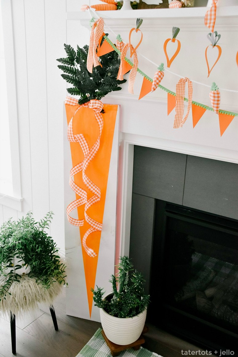 Spring Plaid and Carrots Mantel