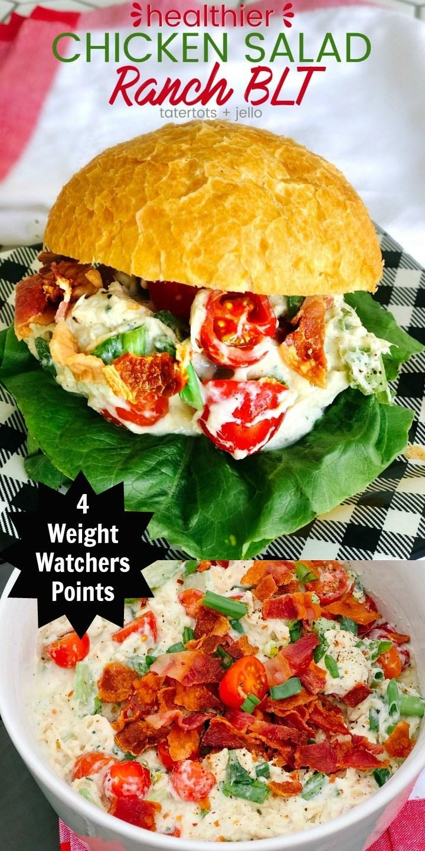 4 Weight Watchers Points Healthier BLT Ranch Chicken Salad @ Tatertots & Jello