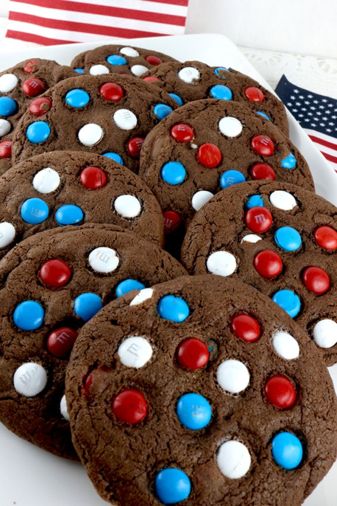 Red White and Blue Chocolate Cookies @ Two Sisters