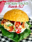 Healthier BLT Ranch Chicken Salad with Weight Watchers Points is perfect as a sandwich or on top of greens!