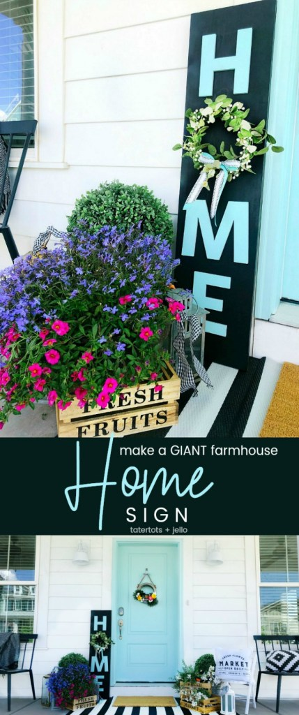 How to make a GIANT farmhouse HOME sign for just a few dollars! Create a focal point for your front door or mantel in just minutes with this easy tutorial!