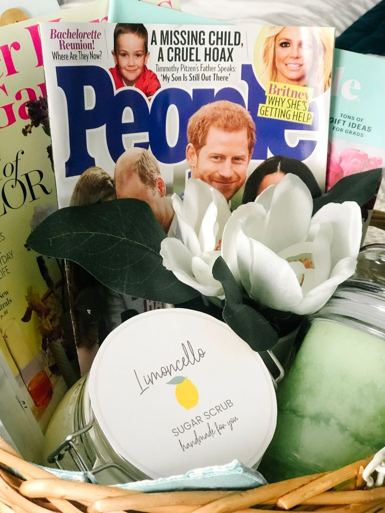 Mother's Day Gift Basket Ideas, Printable Gift Tags + DIY Limoncello Sugar Scrub Recipe! Mother's Day is the perfect time to show someone how much you care! Put together an easy gift basket of things to pamper mom, including some yummy Limoncello Sugar Scrub and a cute tag you can print off!
