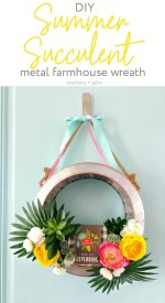 Summer Succulent Metal Farmhouse Wreath DIY