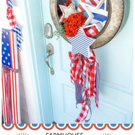 Make a Fourth of July Farmhouse Star Wreath. A galvanized wreath with red white and blue wood stars and gingham fabric is the perfect wreath to celebrate the Memorial Day or the Fourth of July!