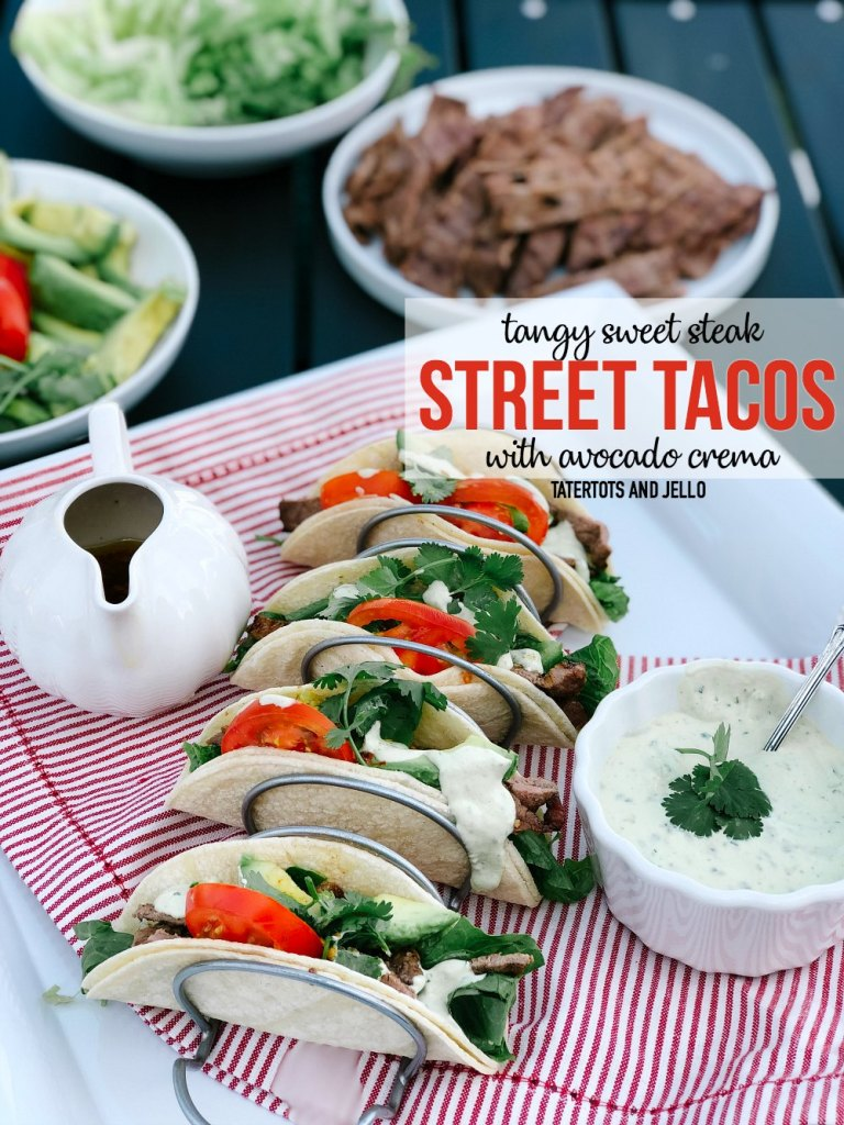 Tangy Sweet Steak Street Tacos with Avocado Cilantro Crema. Combine the sweetness of honey with tangy steak and a creamy Mexican sour cream crema avocado cilantro sauce in these delicious street tacos.