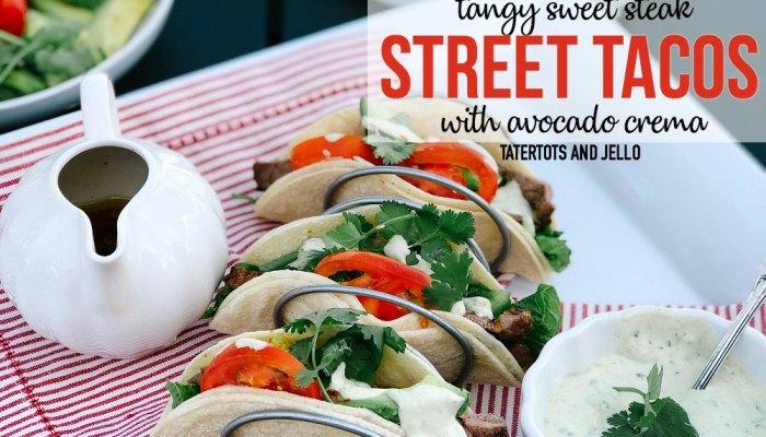 Tangy Sweet Steak Street Tacos with Avocado Cilantro Crema