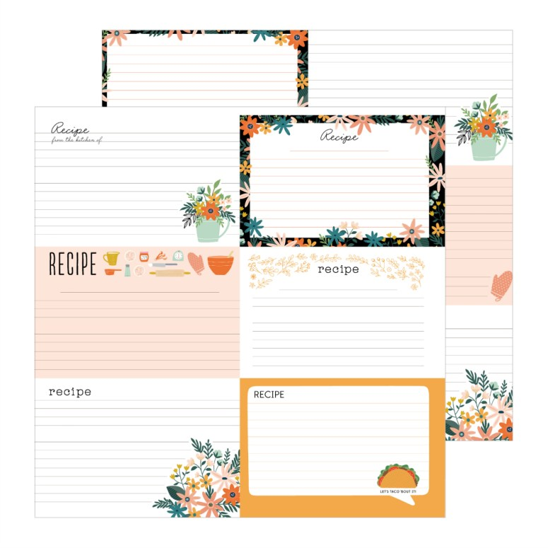 This is Family paper line has recipe cards that you can cut apart and use in a recipe card mini book!