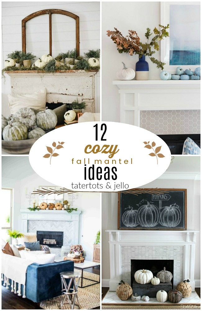 12 Cozy Fall Mantel Ideas! Whether you have a mantel or a shelf, here are12 DIY ways to bring the warm feeling of Fall into your home!