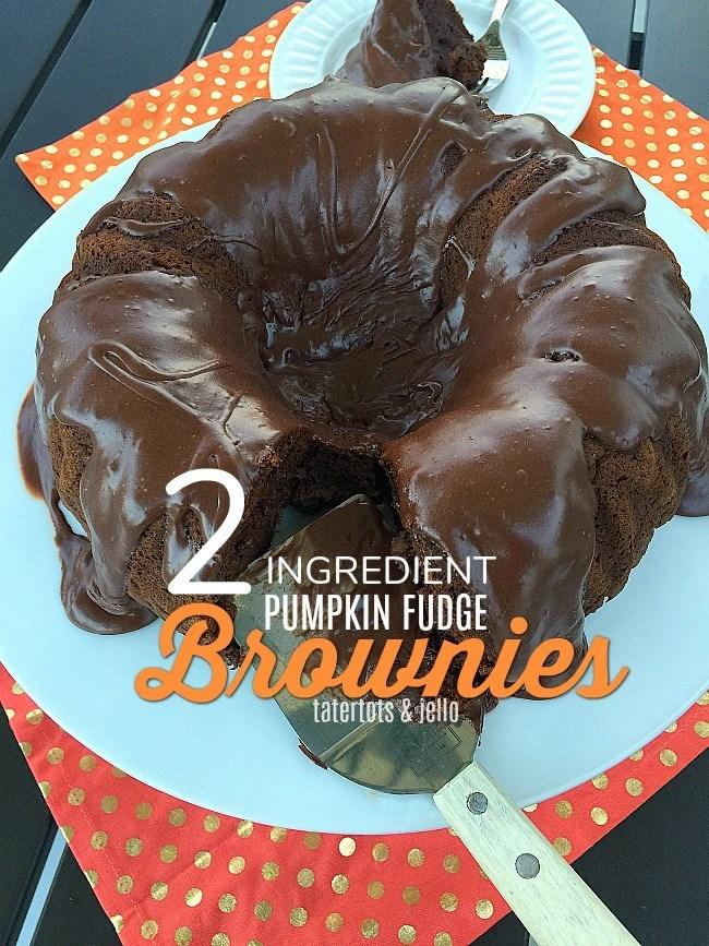 2 Ingredient Gooey Pumpkin Fudge Brownies