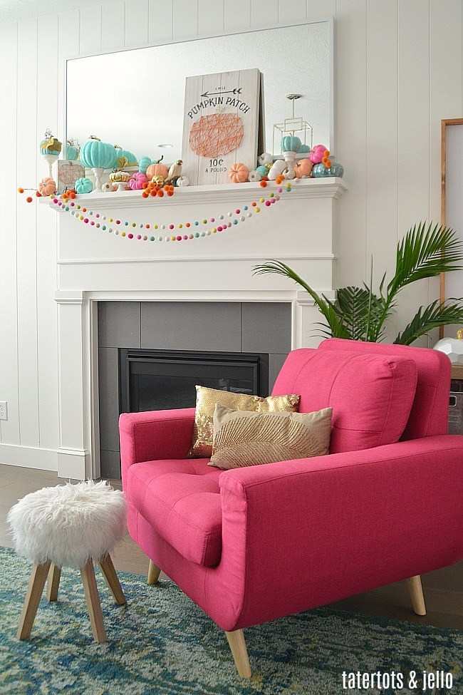 Colorful Fall Mantel with Painted Pumpkins @ Tatertots & Jello