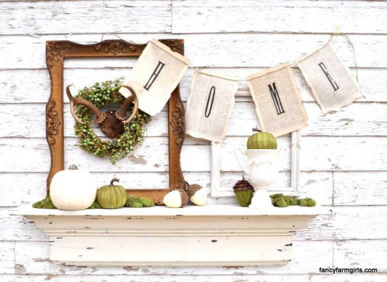 Fall Mantel @ All Things Thrifty