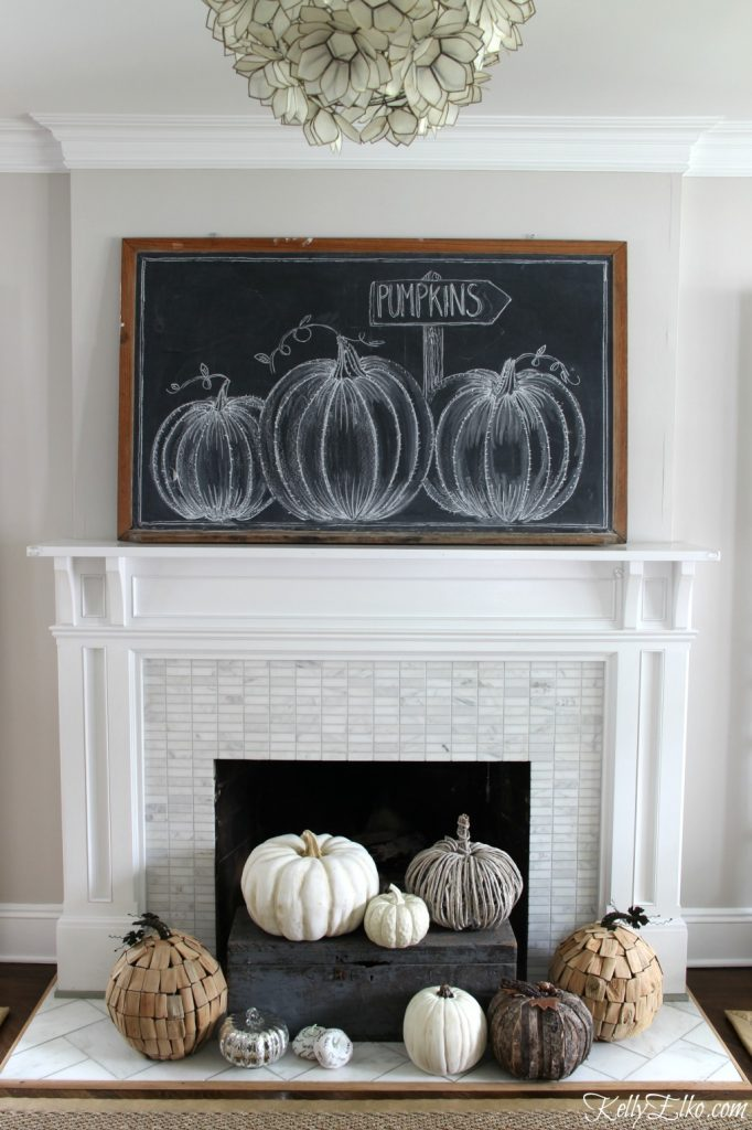Fall Pumpkin Patch Mantel @ Kelly Elko