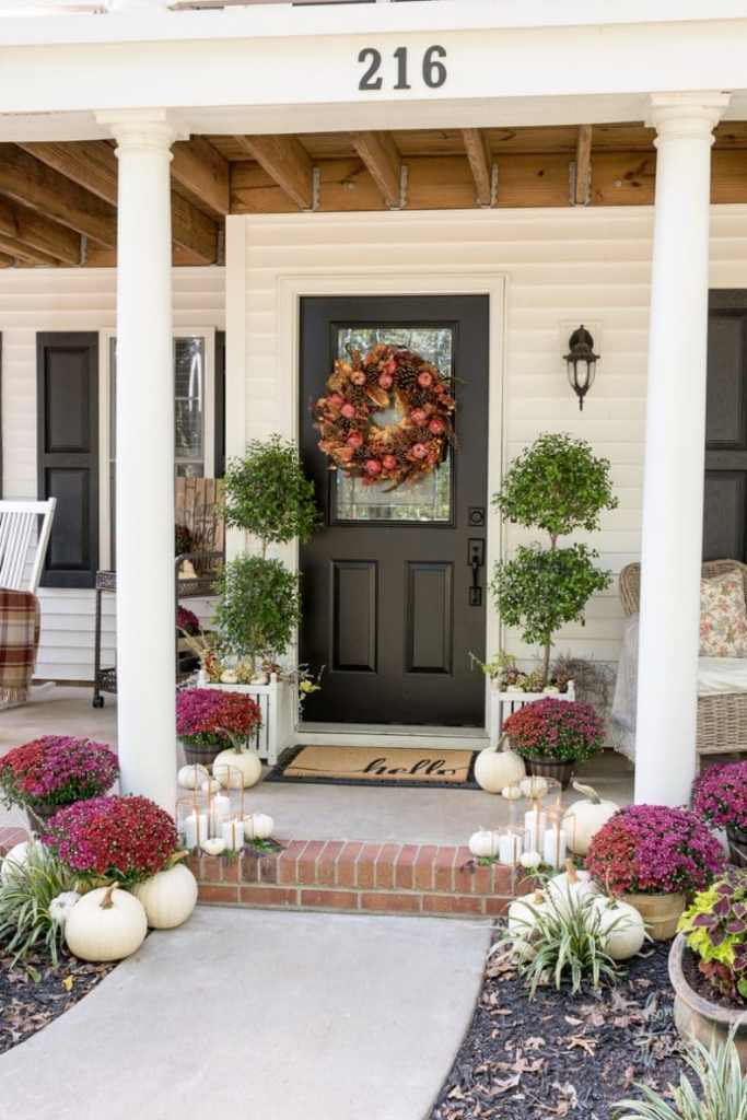 Plum And Red Mums Fall Porch @ Home Stories A to Z