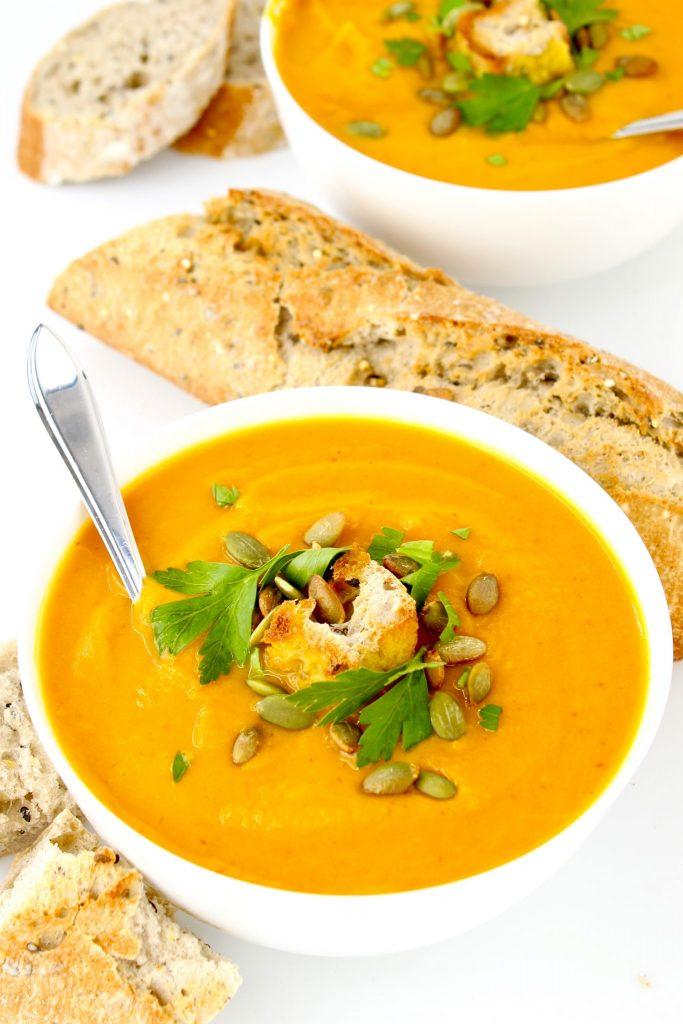 Turmeric Sweet Potato Pumpkin Soup @ Plantiful Eating