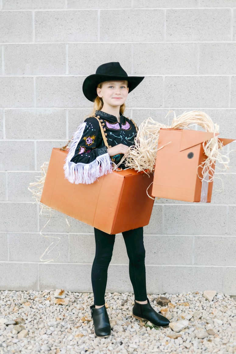 """Old Town Road"" Western Boxtume Costume DIY. Turn a catchy western song into an easy Halloween costume with Amazon Prime smile boxes and some creativity!"