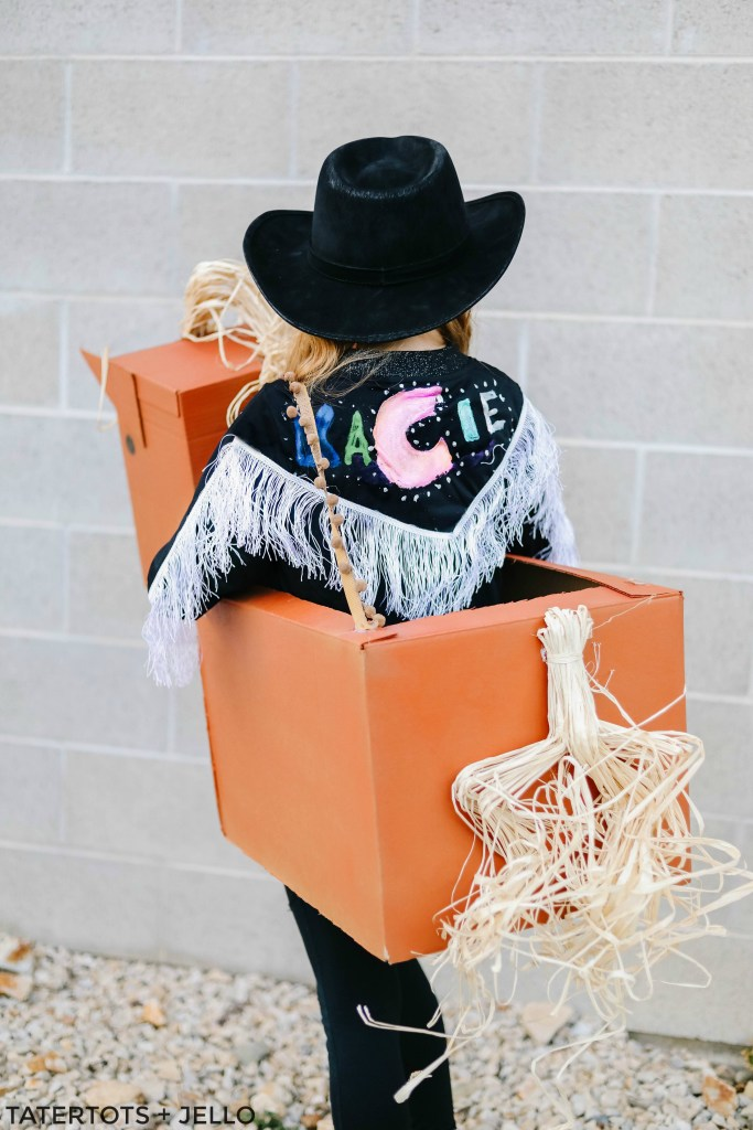 """Old Town Road"" Western Boxtume DIY. Turn a catchy western song into an easy Halloween costume with Amazon smile boxes and some creativity!"