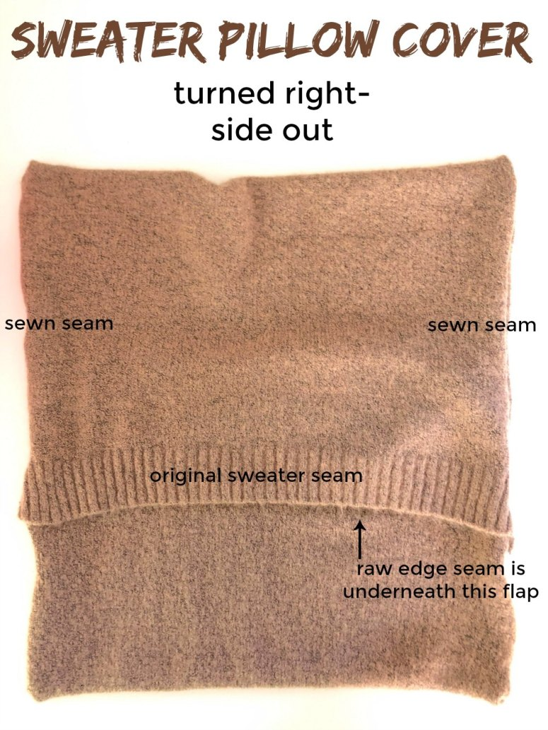 Sweater Pillow Cover tutorial showing where the sewn seams are