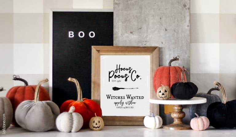 Halloween Hocus Pocus Printable Art @ Lolly Jane