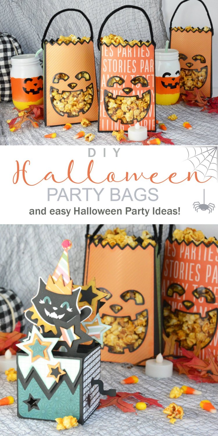 Halloween Pumpkin Paper Party Bags. Turn sheet of paper into festive pumpkin-shaped Halloween party bags and fill them with treats. Plus easy Halloween Party Ideas!