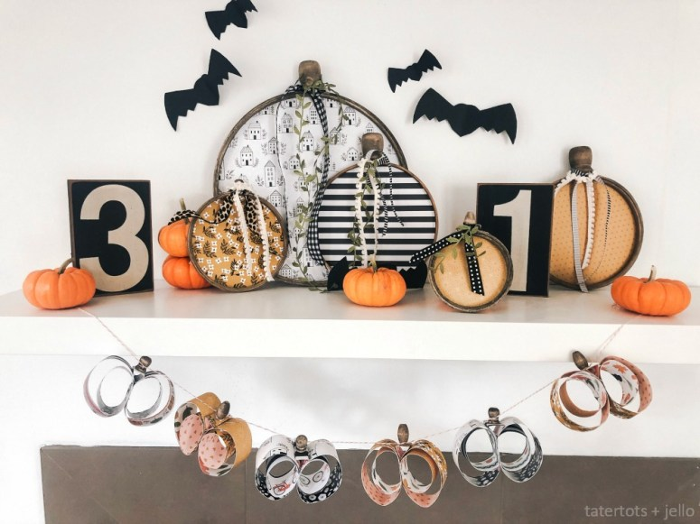 Easy Paper Pumpkin-Shaped Garland. Turn a couple of sheets of scrapbook paper and some wood beads into a gorgeous 3-D Pumpkin-shaped garland for Fall!