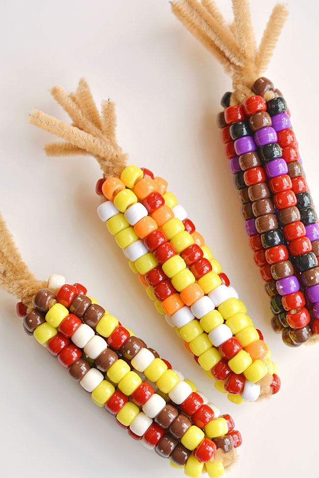Beaded Pipe Cleaner Indian Corn @ One Little Project