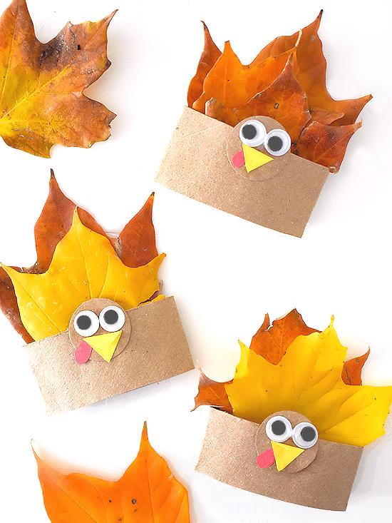 Cardboard Roll Fall Leaf Turkey Craft @ Our Kid Things