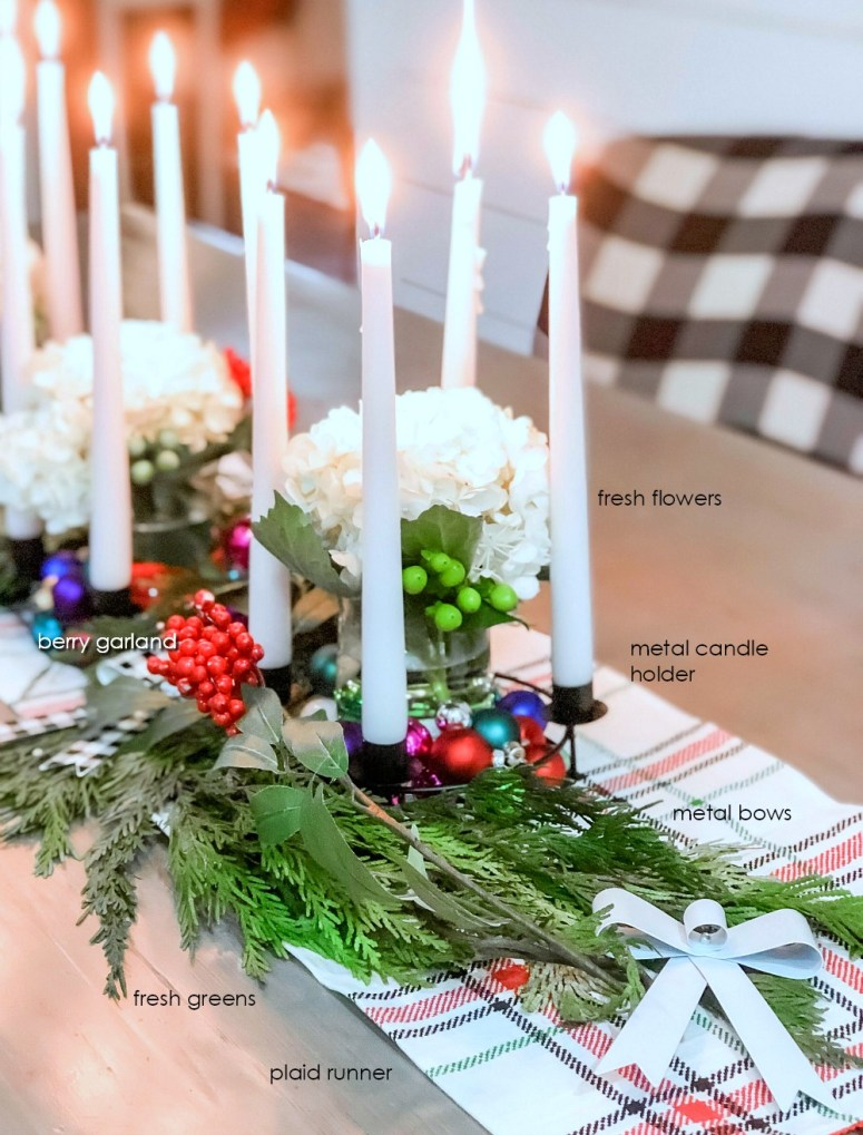 Dollar Spot Modern Farmhouse Holiday Centerpiece. How to make an easy Christmas centerpiece with a few items from Target's Dollar Spot.