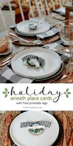 5-Minute Holiday Place Card Wreaths with Printable Tags