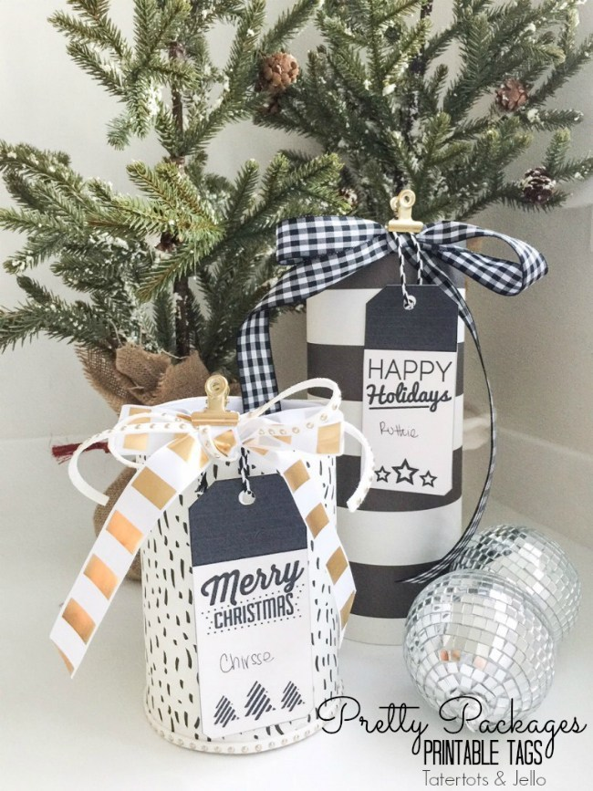 Black and White Printable Holiday Gift Tags