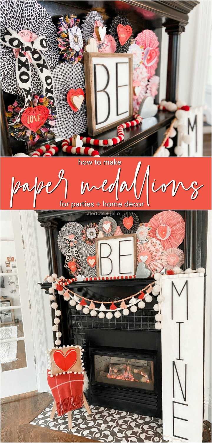 How to make paper medallions for parties and home decor. Paper medallions are easy to make with scrapbook paper and perfect for parties and home decorating!