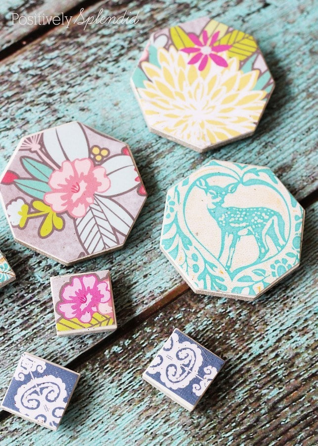 DIY Decoupaged Magnets are fun to make with colorful scrapbook paper, they are a great craft to make with kids!