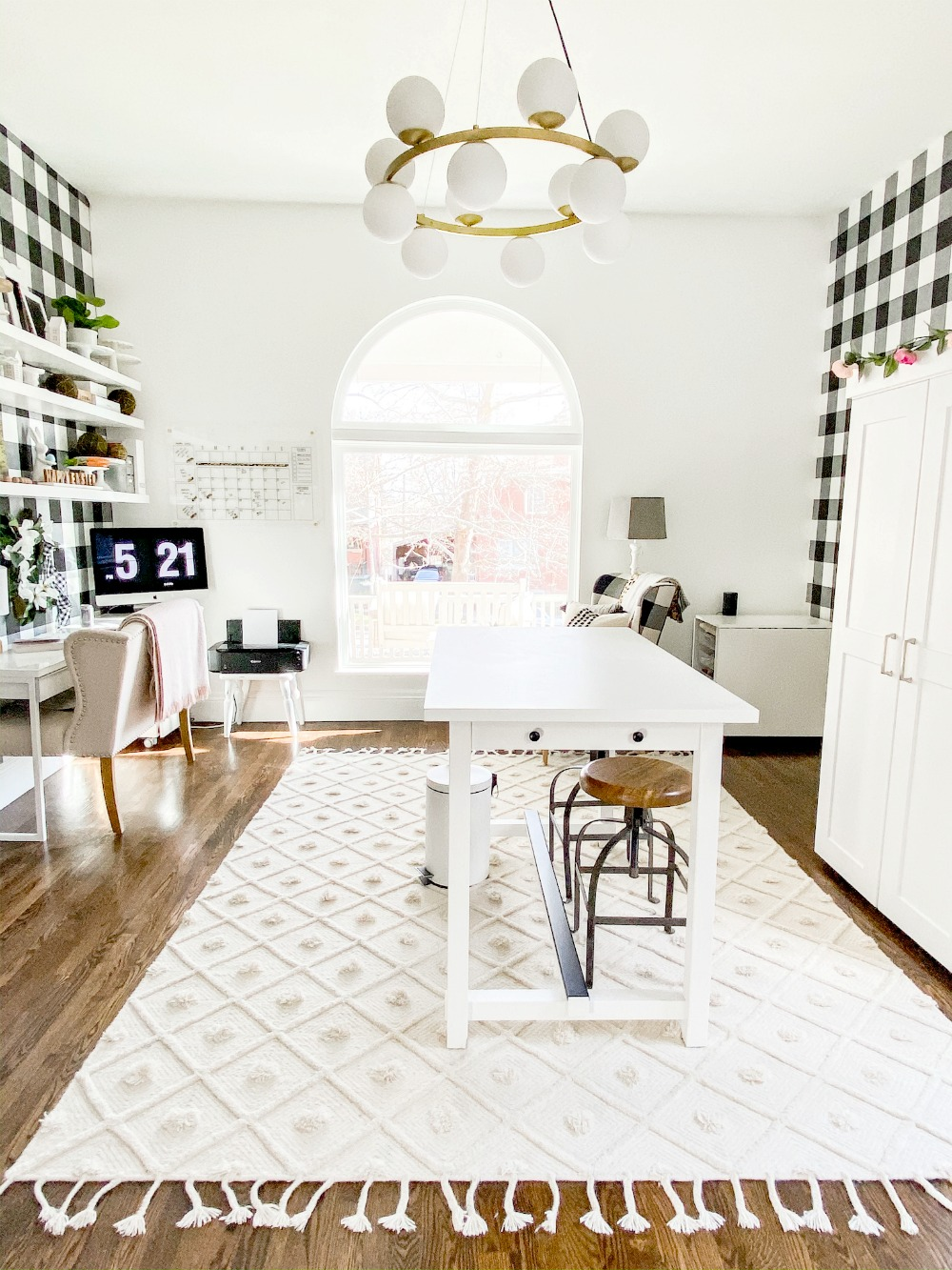 white plaid office craft room remodel