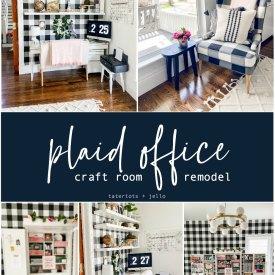 plaid office craft room budget makeover
