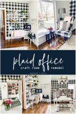 Black and White Plaid Office Craft Room Remodel