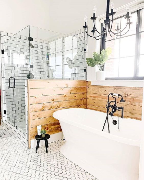 20 Modern Farmhouse and Cottage Bathroom Tile Ideas on Farmhouse Bathroom Tile  id=74121