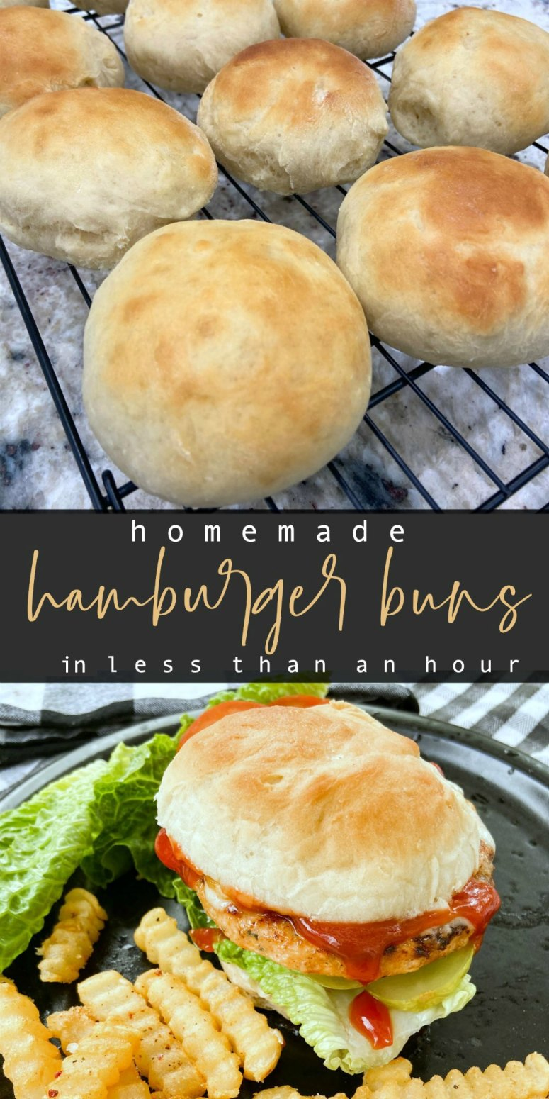 Fast and Easy Homemade Hamburger Buns in Less Than an Hour. Need a quick hamburger bun without having to run to the store? These are easy to make and bake up fluffy and golden brown in less than an hour.