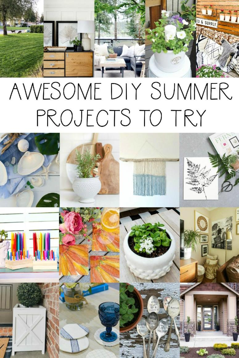 Awesome DIY Summer projects to try. Lots of outdoor summer projects to make your home more beautiful.